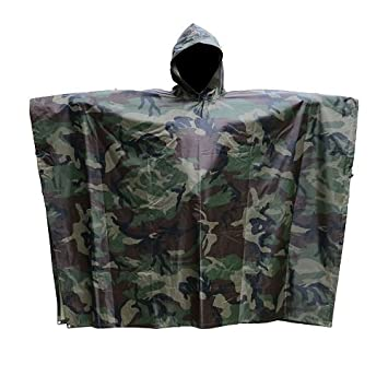 Fashion Men Women Camouflage Rain Poncho Jacket Rainwear Packable ...