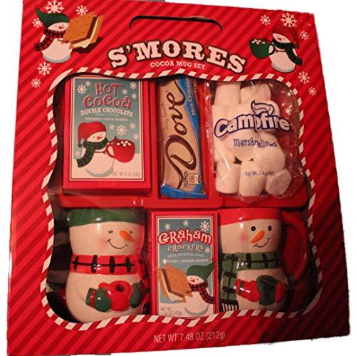 Holiday S'Mores Cocoa Mug Set With Ceramic Snowmen Mugs and Dove Chocolate Bar -