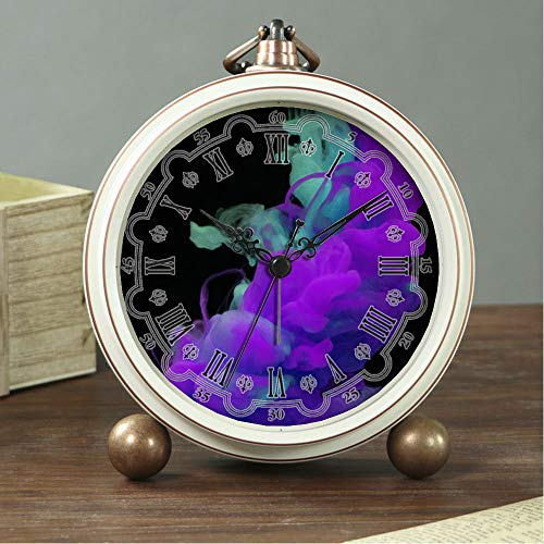 - GIRLSIGHT Art Retro Living Room Bedroom Decorative Non-Ticking, Easy to Read, Quartz, Analog Large Numerals Bedside Table Desk Alarm Clock-265.Purple and Teal Smoke Wallpaper