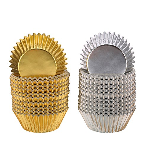 Sumind Foil Metallic Cupcake Case Liners Muffin Paper Baking Cups (Gold and Sliver, 200 Pieces)