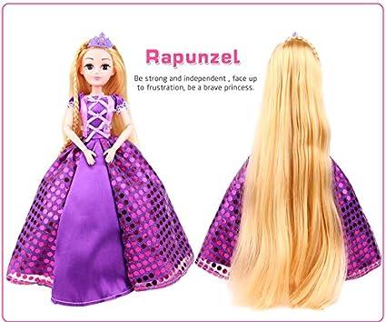 Buy Samanis Princess Rapunzel Long Hair 3D Barbie Doll ...