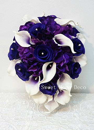 Sweet Home Deco Real Touch Calla Lily Wedding Bride Bouquet/Boutonniere/ Corsage Artifiial Flower Wedding Flower Package (Purple-Cascading/Calla Lilies/Rose/Hydrangeas)