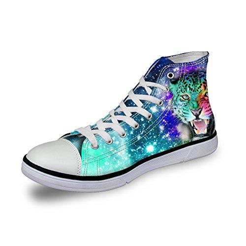 For U Disigns Fashion Galaxy Canvas Zapatos Hombres Estrella Animales High Top Walking Sneakers Bear
