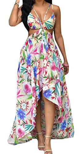 White Dress Womens Boho Chemises Jaycargogo Stylish Sexy Print Floral UxO6F7q