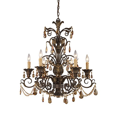 (Alumbrada Collection Rochelle 6 Light Chandelier In Weathered Mahogany And Amber Crystal)
