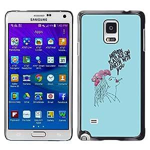 Paccase / SLIM PC / Aliminium Casa Carcasa Funda Case Cover para - Lady Smoker Blue Floral Drawing - Samsung Galaxy Note 4 SM-N910F SM-N910K SM-N910C SM-N910W8 SM-N910U SM-N910