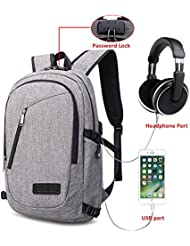 Zology Laptop Backpack with USB Charging Port & Headphone Inteface and Password Lock for Men/Women/Boy/Girl, Fits...