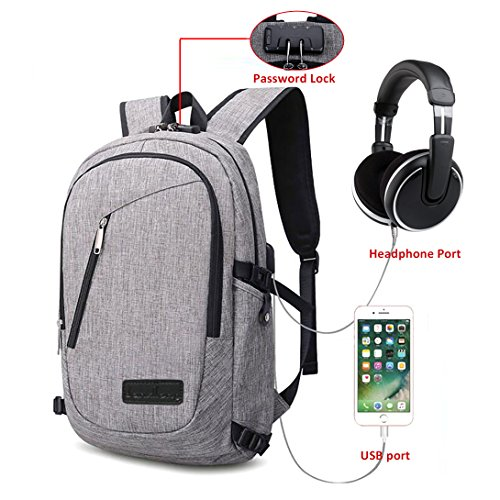 Zology Laptop Backpack with USB Charging Port & Headphone...
