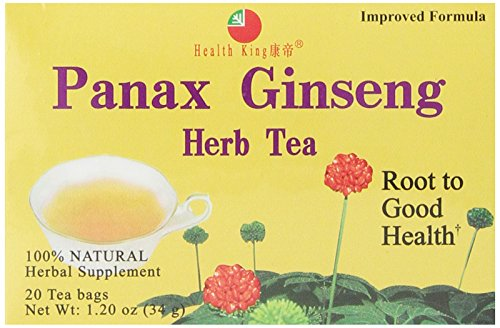 Health King Panax Ginseng Herb Tea, Teabags, 20 Count Box