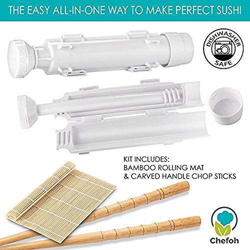 All-In-One Sushi Making Kit | Sushi Bazooka, Sushi Mat & Bamboo Chopsticks Set | DIY Rice Roller Machine | Very Easy To Use | Food Grade Plastic Parts Only | Must-Have Kitchen Appliance by Chefoh (Image #1)