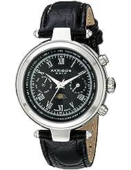 Akribos XXIV Men's AK697SSB Ultimate Swiss Quartz Multifunction Black Dial Black Leather Strap Watch