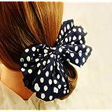 Leegoal 1PC Korean Style Lovely Big Rabbit Ear Bow Headband Ponytail Holder Hair Tie Band (Navy)