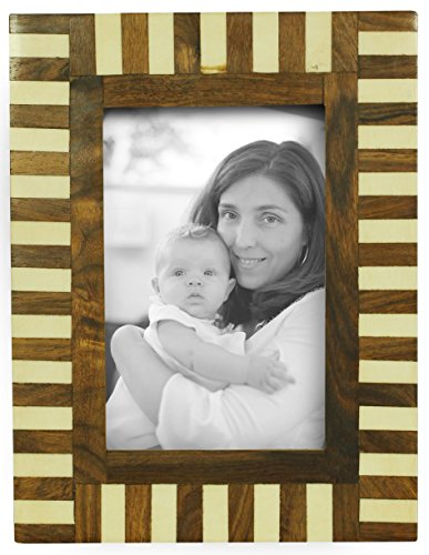 """SouvNear 4x6"""" Picture / Photo Frame - Handmade Bone & MDF in Brown & White Stripes - Table-Top / Home Décor / Living Room / Decorative - Store Best Glasses Nyc"""