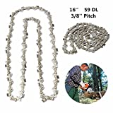 16 Inch 59 Drive Substitution Chain Saw Saw Mill Chain 3/8 Inch Links Pitch 050 Gauge husqvarna chainsaw mill ripping chain worx parts greenworks