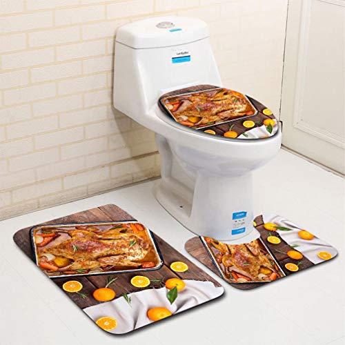 (MTSJTliangwan 3-Piece Bathroom Set, Bathroom Rug + Contour pad + lid Toilet seat, Roasted Duck with Vegetables Citrus and Rosemary Christmas Festive Table Comfortable Flannel Rug)