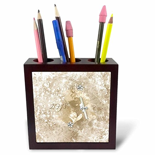 Crystal Heart Pen - 3dRose Beverly Turner Graduation Design - Graduation, 2018, Diploma, Hearts, Crystal Flower, Sepia - 5 inch tile pen holder (ph_272644_1)
