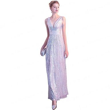 Aswomoye Stunning Silver Long Evening Dress A Line Sexy V Neck Prom