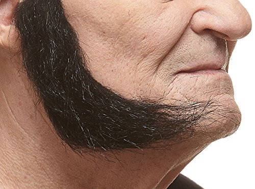 Realistic L shaped black fake mutton chops sideburns, self adhesive