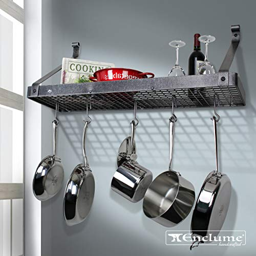- Enclume Premier Deep Bookshelf Wall Pot Rack, Hammered Steel