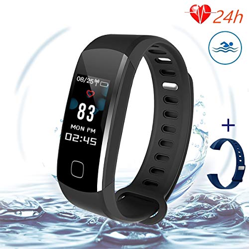 Solo Heart Rate Monitor Watch - Fitness Tracker,IP67 Waterproof Smart Activity Tracker With Sleep Monitor, Continuous Heart Rate Monitor, Calorie Burn Tracker, Pedometer, Multi-Color Screen Display, Blood Pressure for Women, and Men