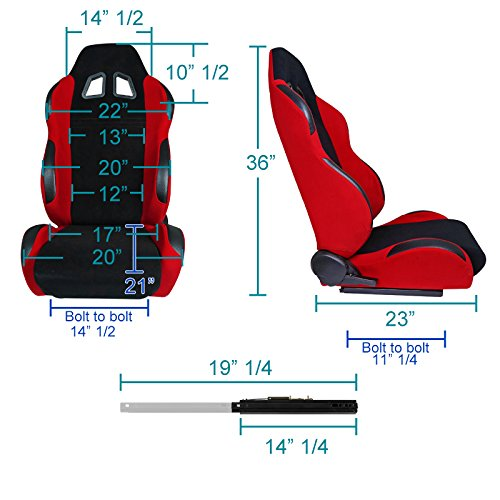 Spec-D Tuning RS-5052-CV96 Racing Seat Bracket Red Cloth PVC Leather Pair