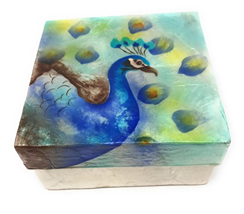 Kubla Craft Peacock in Blue Capiz Shell Keepsake Box, 4 Inches Square