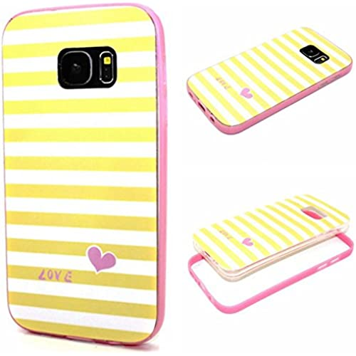 Galaxy S7 Case,S7 Case,Gift_Source [Stripes love] Soft Silicone Bumper With Hard Plastic Back Cover Hybrid Impact Shockproof Case Cover for Sales