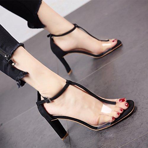 patín YMFIE cómodos Black a Europeo Estilo Verano tacón Alto de Lady Zapatos Sandalias Toe de Dedos Toe Partido de rTqwPrxU