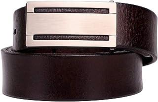 Belingeya Cintura da Uomo Cintura Uomo con Fibbia Lucida Abbigliamento Casual Formale Accessori Cintura in Pelle Tinta Unita per Uomo Trim to Fit (Dimensione : 120cm)