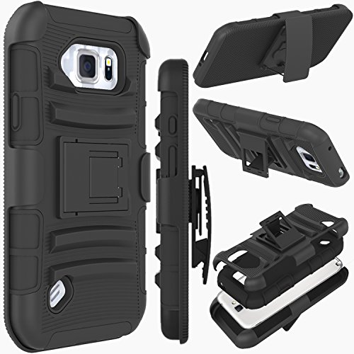 Galaxy S6 Active Case, ZENIC(TM) Hybrid Dual Layer Armor Defender Full-Body Protective Case Cover with Kickstand & Belt Clip Holster Combo for Samsung Galaxy S6 Active All Carriers (Black) (Phone Combo Pack Accessory)