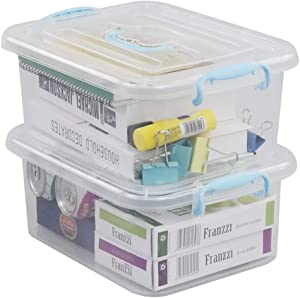 Ortodayes Clear Storage Boxes with Lids, Storage Bins Set of 2