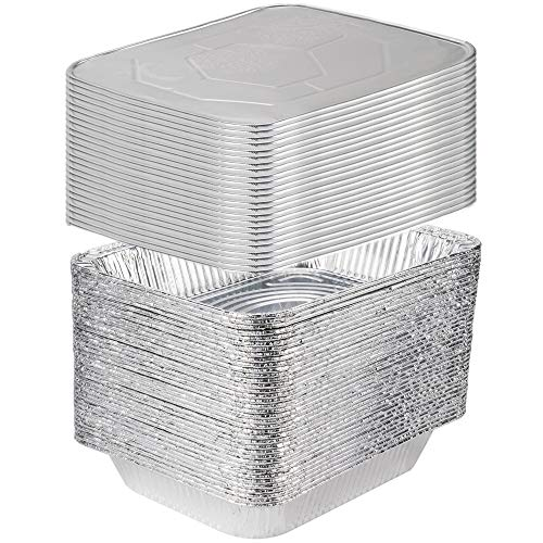 [25 Sets] 9 x 13 Aluminum Foil Steam Table Pans With Lids - Half Size Deep