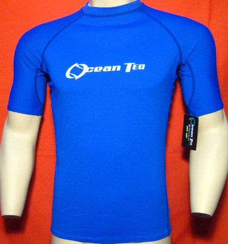 New Mens Rash Guard S M L XL 2X Lycra Surf Swim Uv RashGuard Short Sleev Blue SS