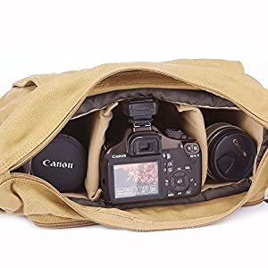 Morrivoe SLR Camera Bag Waterproof Canvas Messenger Shoulder Case Bag with Shockproof Insert for Canon Nikon Sony Dslr SLR Camera (Camera Bag-Khaki))
