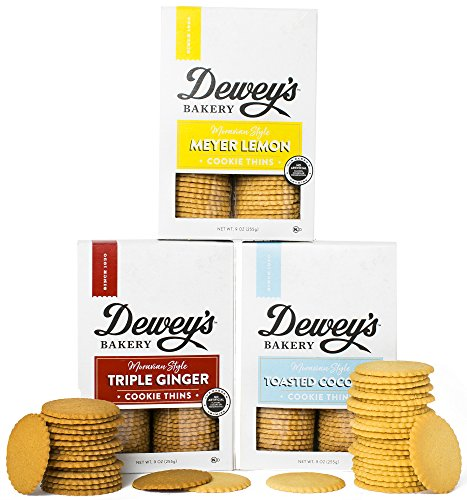 Recipe Sugar Cookie Lemon - Dewey's Bakery Moravian Cookie Thin Variety Pack | Baked in Small Batches | Real, Simple Ingredients | Southern Bakery Recipes | 15 Calories Per Cookie | Pack of 3 9-oz boxes