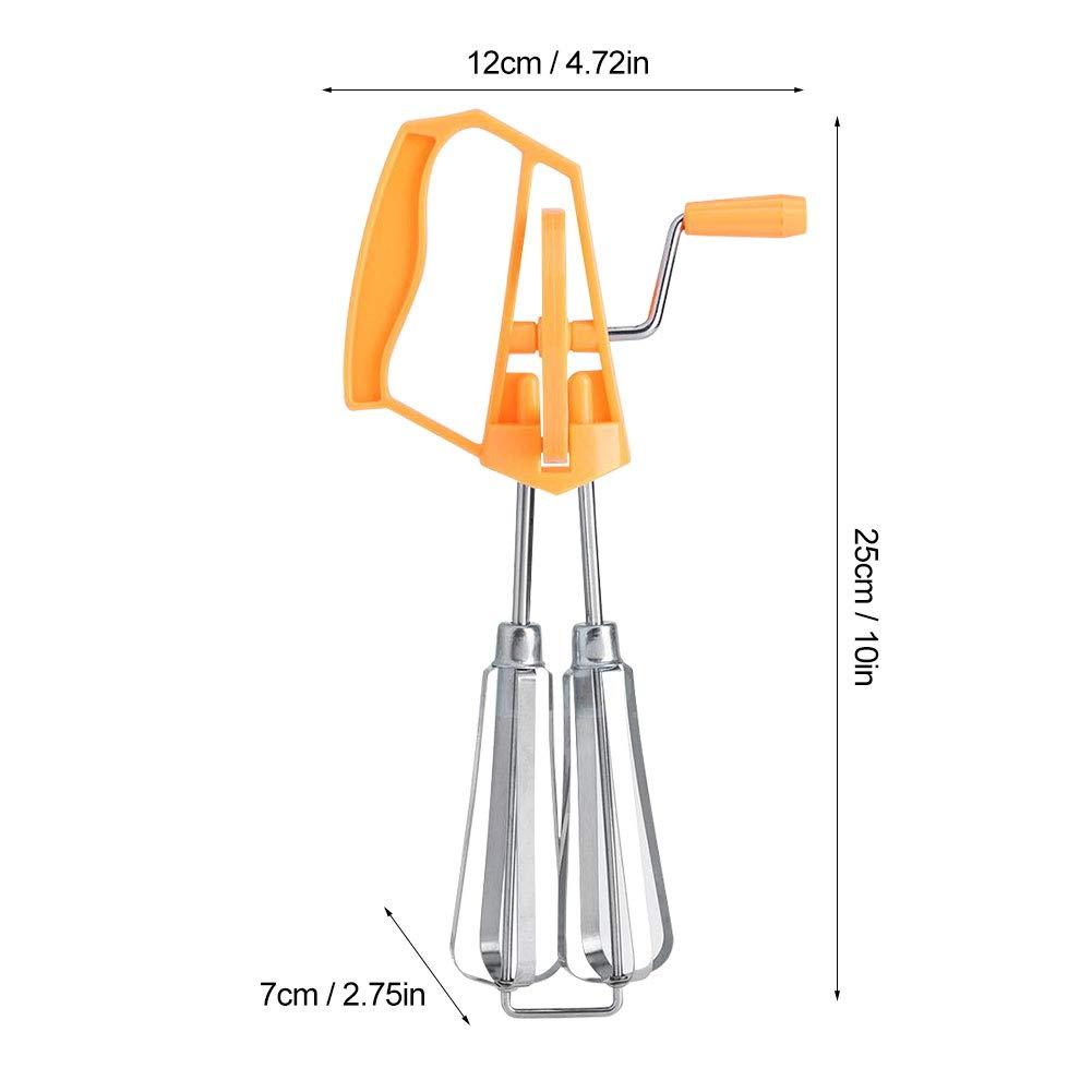 Fouet Cuisine Batteur Oeuf Manuel en Acier Inoxydable Fouet Rotatif Mousseur /à Oeuf avec Manette Plastique M/élangeur Cuisine Outil p/âtisserie Orange