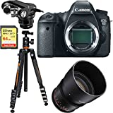 Canon EOS 6D 20.2 MP DSLR Camera Body 8035B002 + Rokinon 85mm T1.5 Cine Lens + Tascam X-Y Plug-in Microphone for DSLR + Sandisk 64GB Extreme UHS-1 SD Card + Vanguard Travel Tripod