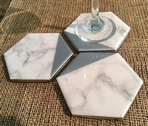 Marble and Silver Hexagonal Coasters Set of 4 - Minimalist Decor, Everyday Gift, Housewarming Gifts, Gift for Hostess, Birthday Gift, Coffee Tea Drinker, Wine Coasters