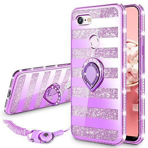 Google Pixel 3 XL Case, VEGO Glitter Case Bling Diamond Rhinestone with Kickstand Ring Grip for Girls Women Case for Google Pixel 3 XL(Stripe Purple)