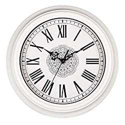 SonYo Silent Non-ticking Classic Quartz Wall Clock Decor Living Room Roman Numeral Clocks White 12 Inches