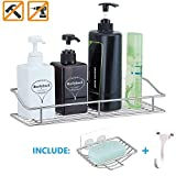Kesol Adhesive Shower Caddy Wall Shelf Storage Basket Organizer for Bathroom and Kitchen, SUS304 Stainless Steel Rust Proof Water Proof, No Drilling