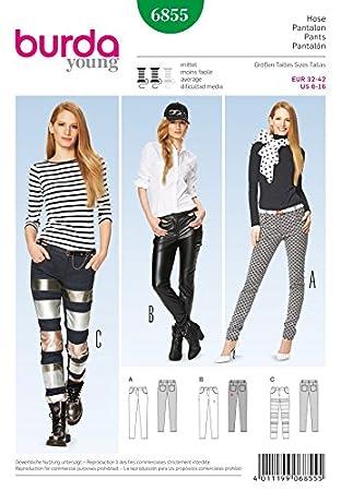 Burda Damen Schnittmuster 6855 – Skinny fit Jeans in 3 Styles ...