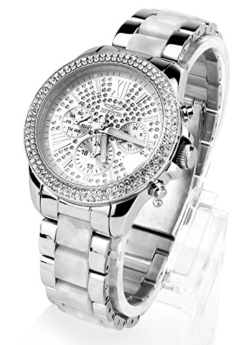 Invicta Angel Multi-Function Silver Crystal-set Stainless Steel and Pearl Tortoise-shell Ladies Watch 20507