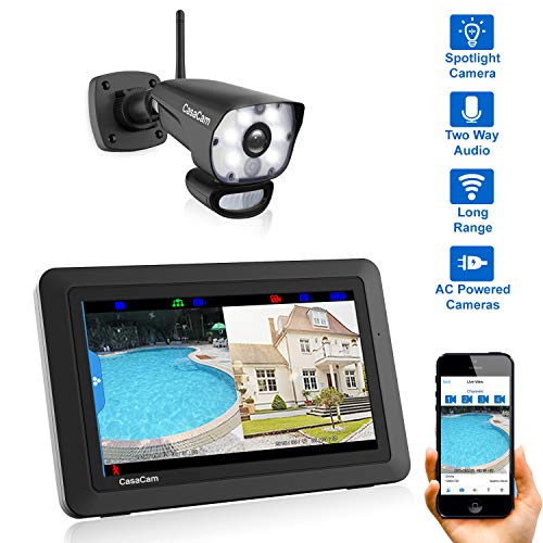 (CasaCam VS1001 Wireless Security Camera System with AC Powered HD Spotlight Camera and 7