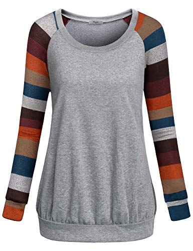 Out Kids Sweatshirt - Cestyle Cute Sweaters for Women,Teen Girls Workout Crew Neck Cute Pullovers Sweatshirts Women Casual Basic Spliced Shirts Misses Warm Long Sleeve Comfy Jersey Tunic Tops Fall Clothes Stirpe 10-12
