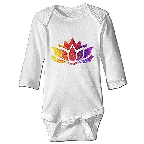 Fashion Baby Boys & Girls Topaz Ruby Sapphire Lotus Flower Long-sleeve Bodysuit - Topaz Button
