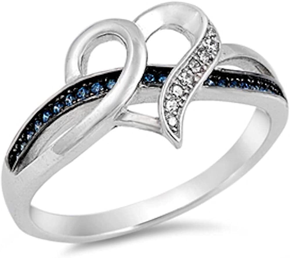 925 Sterling Silver Simulated Infinity Heart Cz /& Sapphire Ring Sizes 5-10