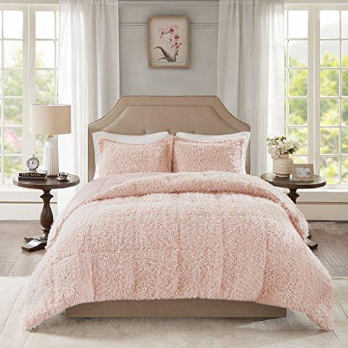 - Madison Park LAF02-0232 Nova Mohair Reverse Faux Mink Comforter Set Blush Full/Queen