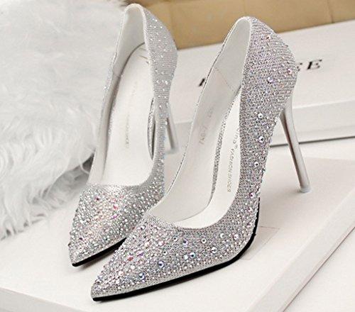 Minetom Da Scarpe Lucide Pointed Tacco Scarpe Sposa Strass Scarpe Shoes Toe Argento Tacco Con Donna Stiletto Col Scarpe rvq0Frw