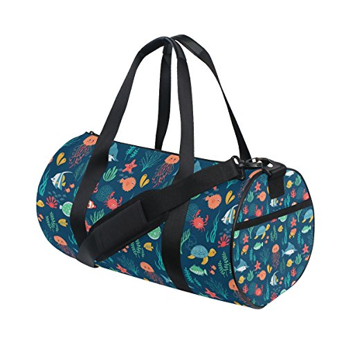 Fish Turtle Jellyfish Art Lightweight Canvas Sports Bags Travel Duffel Yoga Gym Bag by JIUMEI